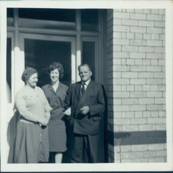 Mum with nana and grand dad - probably in Rhyl?